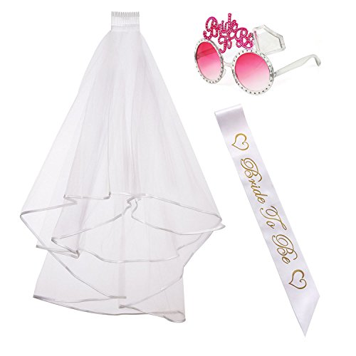 iLoveCos Hen Party Accessories Bridal Wedding Veil with Comb White Bride to Be Satin Sash and Sunglasses 3 piece