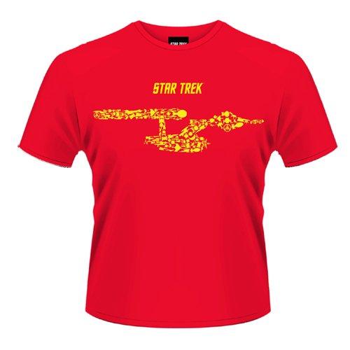 Testa in plastica da uomo navi di Star Trek, The Line-Maglietta a maniche corte, colletto a listino rosso X-Large