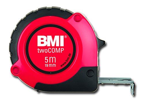 BMI 472541021 Taschenbandmaß Two Comp, Länge 5 m, weisslackiertes Band, mit Clip