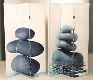 Paravent 3 - partie - diviseur de pièce, motif de pierre