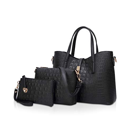 NICOLE & DORIS Damen Handtaschen Stück Handtasche 3 Stück Tote Handtasche + Umhängetaschen + Armband, Krokodil Tasche Frauen Schwarz