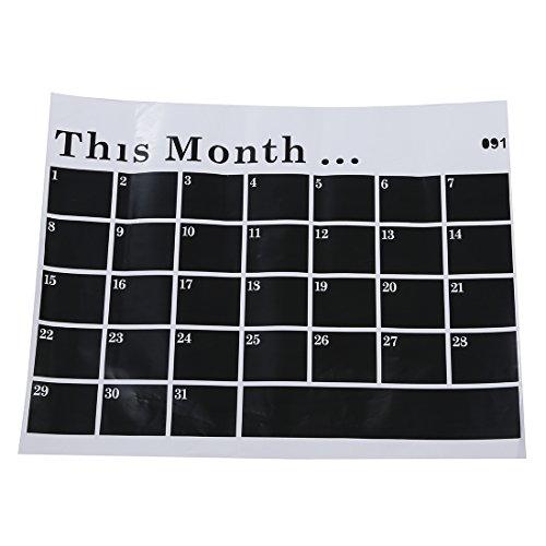 TOOGOO(R) Planificateur Calendrier mensuel Tableau noir amovible Autocollant Mural craie Plaque Autocollant