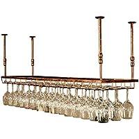 GJBJ-Wine Racks Cubilete Portavasos Suspensión Copa de Vino Estante Estante Colgante de Hierro Titular de Rack Techo Decoración Bar (tamaño : 90 * 35cm)