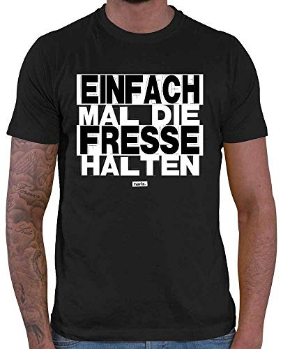 HARIZ  Herren T-Shirt Einfach Mal Die Fresse Halten Sprüche Schwarz Weiß Inkl. Geschenk Karte Schwarz M