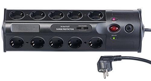 revolt Mehrfachsteckdosen: 10-fach-Steckdosenleiste mit Überspannungsschutz und USB-Ladefunktion (Steckdosen-Leisten)