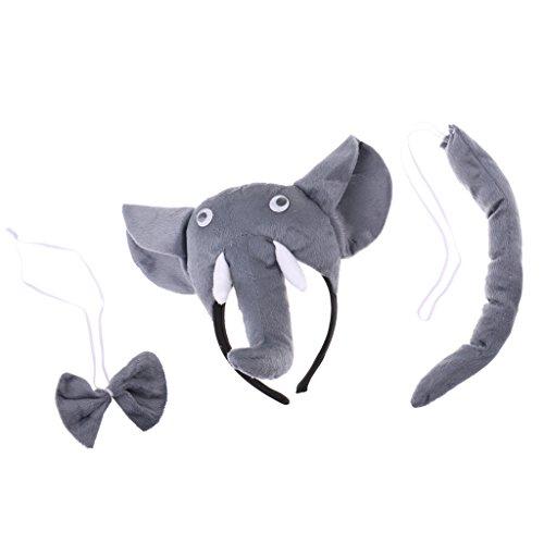 MagiDeal Elefant-Kostüm Set - Haarreif, Fliege und Schwanz, Kinder Kostüm für Fasching Karneval ()