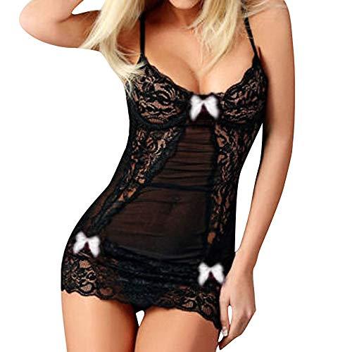 BeautyTop Satin Negligee Dessous Set für Damen Kurz Nachtwäsche Nachthemd Sleepwear Lingerie Spitze-BH mit String Damen Sexy Dessous-Set Bügel BH Spitze Push-Up Slip Unterwäsche