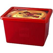 LEGO Ninjago caja de almacenaje apilables, transparente rojo, grande, 18L