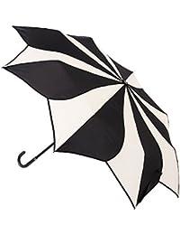 Blooming Brollies Swirl plegable paraguas–negro y crema