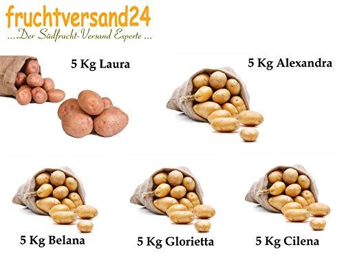 "FRUCHTVERSAND24® Kartoffel- Sortiment ""Probier-mal"" (Speisekartoffeln) Belana, Alexandra, Laura, Glorietta, Cilena (5 x 5kg)"