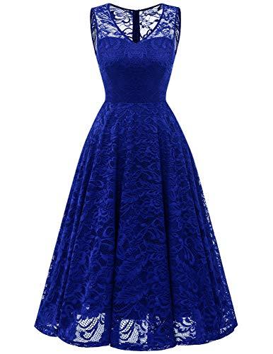 Meetjen Damen Elegant Spitzenkleid V-Ausschnitt Unregelmässig Vokuhila Kleid Festlich Cocktail Abendkleid Midi Royalblue L