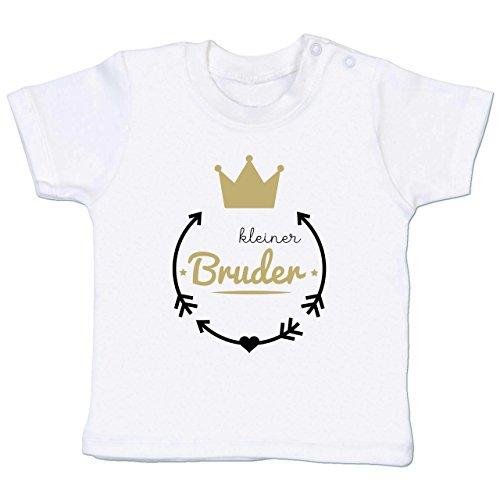 Geschwisterliebe Baby - Kleiner Bruder - Krone - 3-6 Monate - Weiß - BZ02 - Babyshirt Kurzarm