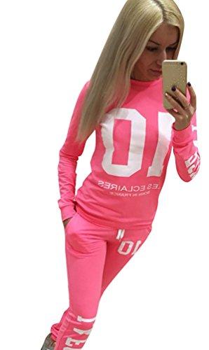 Baymate Damen Trainingsanzug Drucken Sweatshirt Rundhals Tops + Hose Sportanzug 2Pcs Pink S