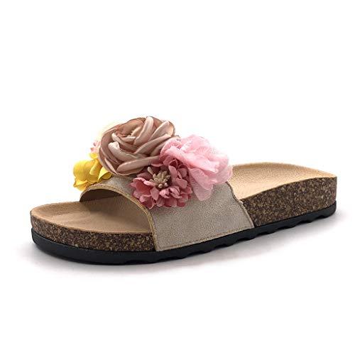 Angkorly - Damen Schuhe Mule Flip-Flops - romantisch - Offen - Bequeme - Blumen Flache Ferse 3 cm - Beige S29 T 40