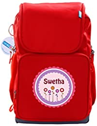 UniQBees Personalised School Bag With Name (Active Kids Medium School Backpack-Red-Pink Flowers)