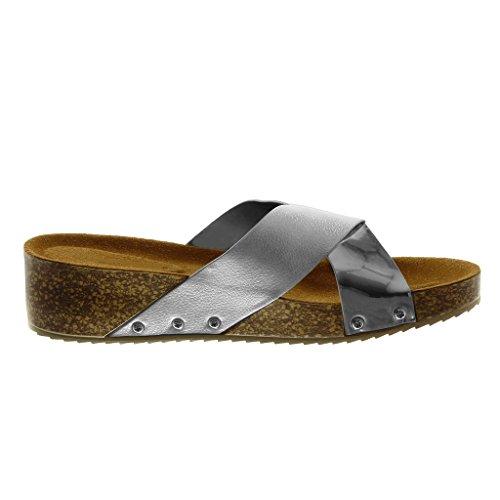 Angkorly Scarpe Moda Sandali Mules Slip-On bi-Materiale Donna Borchiati Sughero Lucide Tacco Zeppa 4.5 cm Argento