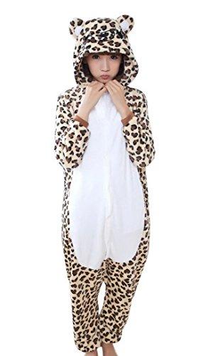 Tier Lustige Kostüme (Feoya Pyjama Unisex Onesie Tier Kostüm Flannell Sleepwear Cartoon Leopard Cosplay für Weihnachten Ostern Hallowee Karneval Winter Homewear mit)
