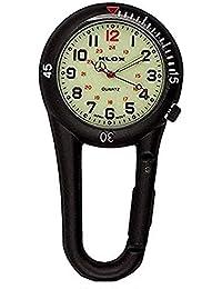 Klox Black Clip On Moschettone Metal Fob Watch quadrante luminoso paramedico infermiera unisex uomo donna
