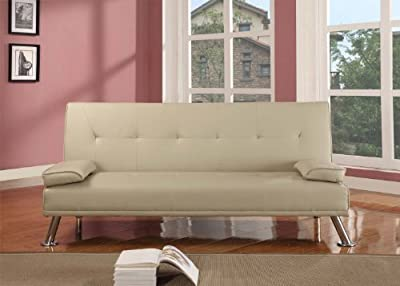 Large Stunning Italian Designer Faux Leather 3 Seater Sofa Bed Futon in CREAM - low-cost UK sofabed shop.
