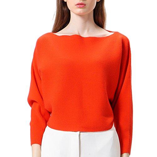 Maglioni oversize Donne Manica lunga Baggy Spalla Casual Tempo Libero a maglia Felpa(XS,arancione)