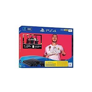PlayStation 4 Slim – Konsole (1 TB, schwarz) inkl. FIFA 20 + 2 DualShock Controller