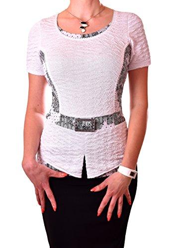 PoshTops Damen Bluse mit Silberner Schnalle Dehnbares Strukturiertes Material Damenshirt Kurze Ärmel Größen S – XXXL Abendkleidung Freizeitkleidung Plus Size (Weiß, XL / 44) (Plus Size Strickjacke Seide)