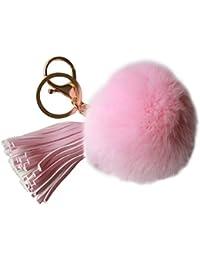 NOVAGO® PomPon Bijou de sac ou porte clé en poil de lapin tout doux avec une houppe en simili cuir , qualité supérieure garantie , diamètre 8 cm