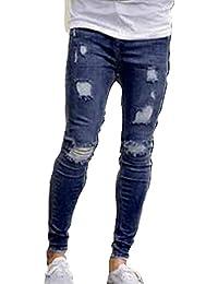 Xinwcang Vaqueros para Hombre Slim Fit Skinny Stretch Jeans Moda Tramo Sweatpants Pantalones Pantalón Ajustado Recto