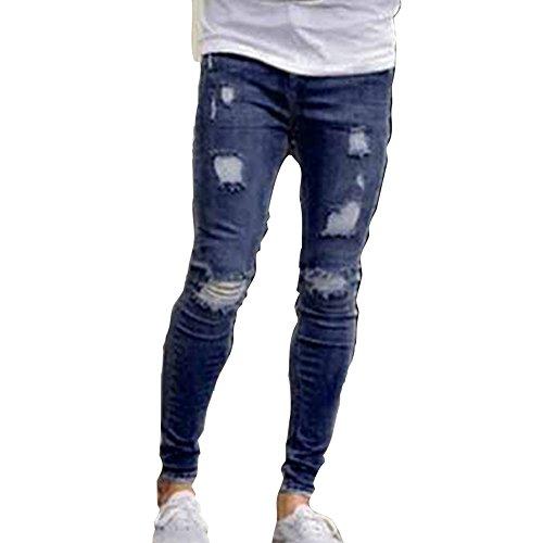 Herren Jeans Denim Hose Slim Fit Destroyed Zerrissen Jeans mit Taschen Mode Casual Lange Jeans Freizeithosen Dunkelblau/Hellblau S-4XL
