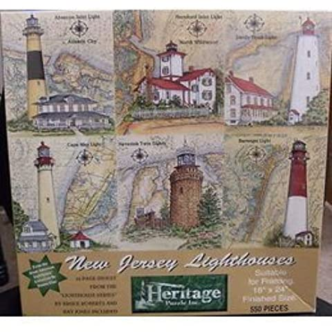 New Jersey Lighthouses 550 Piece Puzzle by Donna Elias Featuring Absecon Inlet Lighthouse in Atlantic City, Hereford Inlet Lighthouse in North Wildwood, Sandy Hook Lighthouse, Cape May Lighthouse, Navesink Twin Lighthouse and Barnegat Lighthouse by Heritage Puzzles - Atlantic Jersey