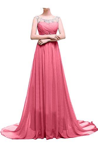 Ivydressing Damen Elegant Lang Abendkleider Chiffon Steine Ballkleid Promkleid Festkleider Wassermelone