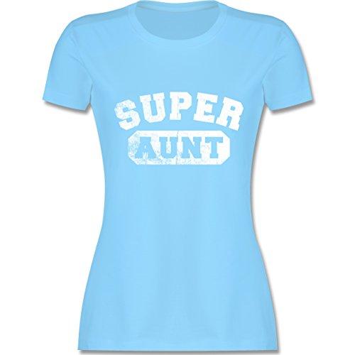 Shirtracer Schwester & Tante - Super Aunt - Vintage-&Collegestil - Damen T-Shirt Rundhals Hellblau