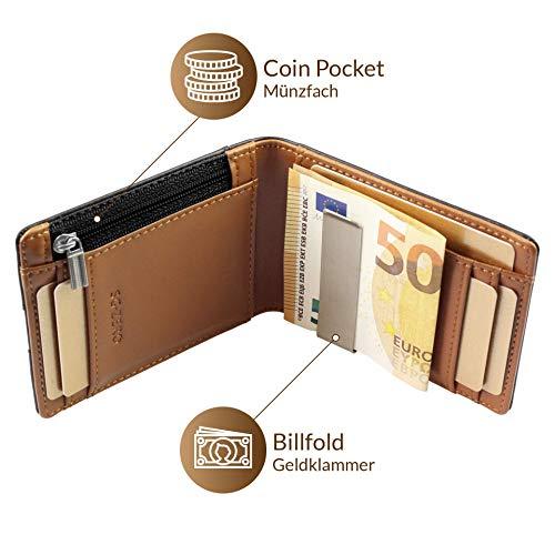 codice promozionale df72b 9a9ab Portafoglio uomo vera pelle RFID con portamonete - piccolo portafoglio  intelligente uomo slim per lui porta bancomat, banconote, porta carte di ...
