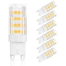 SHINE HAI bombillas LED G9 de 3.5W equivalentes a Lámparas halógenas de 35W,Blanco cálido 2700k,330LM,AC 220-240V,39x SMD 2835,No regulable,Pack de 6