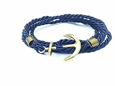 Ancre Bracelet Paracorde Bleu nautique Ancre Doré–Twining Tissage ancres Corde Bracelet