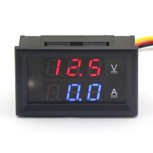 ARCELI 100174 Digital-Multimeter Dual-LED-Anzeige Voltmeter DC 4,5 V bis 30 V Amperemeter 0 bis 50 A Spannung Stromzähler Volt Amp Panel Monitor für Auto Auto Motor -