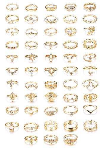 CASSIECA 53 STÜCKE Vintage Gold Knuckle Ringe für Frauen Mädchen Stapeln Strass Finger Midi Ring Set Böhmischen Modeschmuck