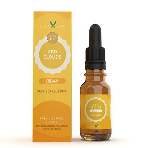 Boon CBD Clouds Vape Liquid - 600 mg reines Cannabidiol-Oil - creamy - Ohne Nikotin - Tropfen für E-Zigarette - Gegen Stress, Schmerzen, Unruhe - Natürliches Schlafmittel - 10 ml Flasche