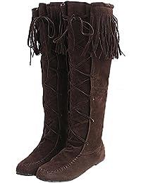 98c3756527675b Minetom Damen Herbst Winter Elegant Lange Stiefel Beiläufig Flache Ferse  Stiefel Quaste Schnüren Stiefel
