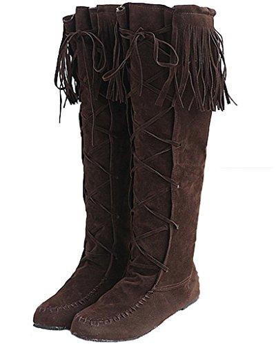 Minetom Damen Herbst Winter Elegant Lange Stiefel Beiläufig Flache Ferse Stiefel Quaste Schnüren Stiefel Braun EU 40 (Ferse-gummi-stiefel)