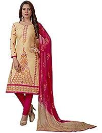 74ac685b70 Salwar Studio Women's Beige & Pink Cotton Embroidered Dress Material with  Dupatta(OM-0042896_Beige_Free