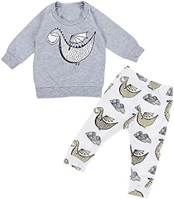 Covermason Bebé Dinosaurio Impresión Tops y Largo Pantalones (1 conjunto)