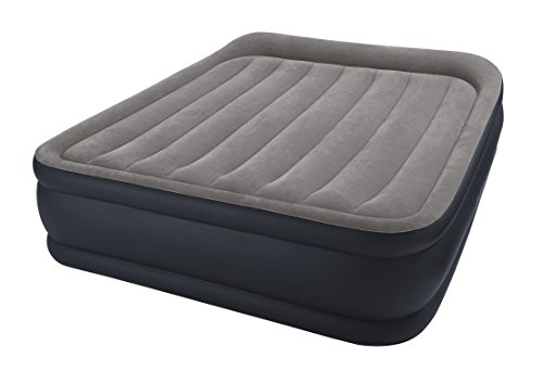 Intex Queen Deluxe Pillow Rest W-Fiber-Tech Bip Airbed, Top: Grey/Bottom: Blue, 152 x 203 x 42 cm