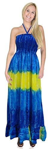 La Leela tie dye spiaggia cavezza stampa likre smocked a più lungo tubo abito blu