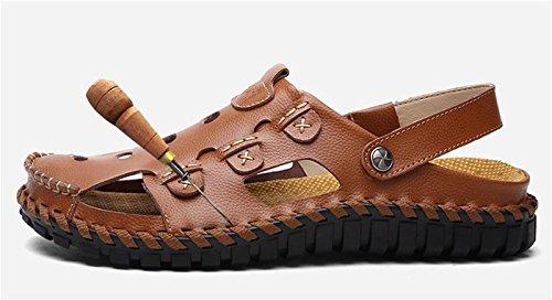 W&XY Hommes sport sandales de plage en plein air en cuir à bout ouvert pêcheur piscine sandales 39