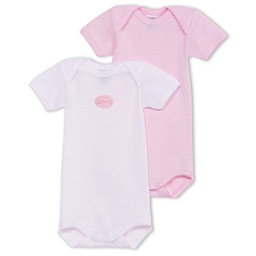 Petit Bateau 66559–Lot de 2Bodys Baby Mädchen Kurzärmelig, Einfarbig und gestreift Gr. 12 Monate,  - Rose Pale/Blanc