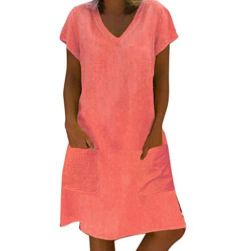 HULKY lose Sommer-Art-Frauen-T-Shirt Feminino-Kleid-Baumwollbeiläufiges Normallack-großes Größen-Kleid(pink,L2)