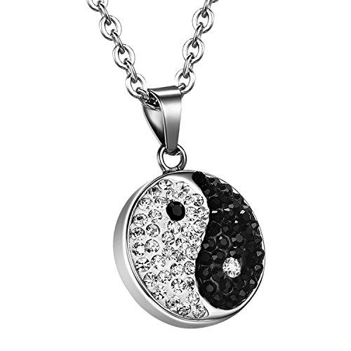 oidea Mujer Colgante con collar de acero inoxidable Yin y Yang, Tai Chi brillantes colgante con cadena de 55, color blanco y negro