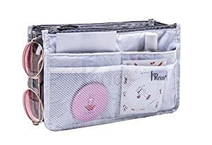 Periea Handbag Organiser, 12 Compartments - Chelsy (18 Colours, 3 Sizes) (Small, White)