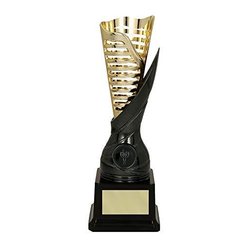 RaRu Extravaganter Tischtennis-Pokal (Flamme goldgrau) mit Ihrer Wunschgravur + 3 Sticker